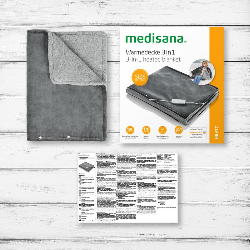 Medisana Měkká vyhřívaná přikrývka 3v1 HB 677